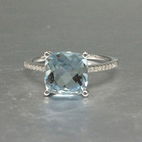 8mm Cushion Cut Aquamarine Engagement ring,VS Diamond wedding band,14K Gold,Blue Gemstone Promise Ring,Bridal Ring,Personalized,Custom made
