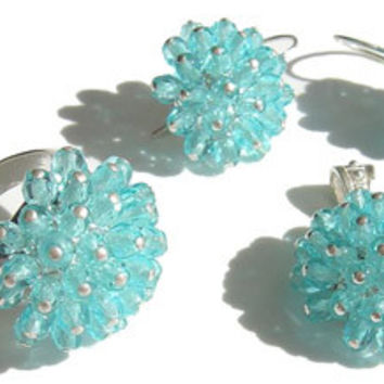 Turquoise Crystal Ring, Earrings & Pendant Silver Set