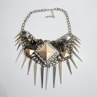 Chunky Necklace, Unique Necklace, OOAK necklace, Spike Necklace, Studded Necklace, Punk Rock Necklace, Chainmaille Necklace