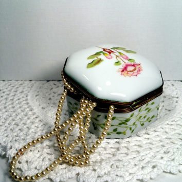 Pink Trinket Box Limoges Porcelain Box French Keepsake Box Gift for Her Jewelry or Ring Box