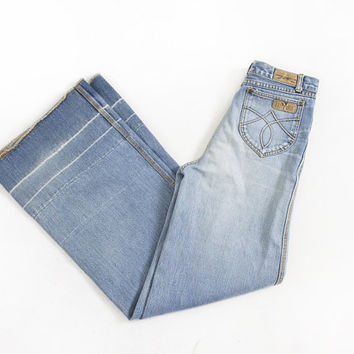 "Vintage 1970s Jeans - Brittania Denim High Waist Flared Bell Bottoms 70s - Medium 28"" x 34"""