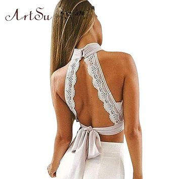 ArtSu Summer 2018 Sexy Backless Women Tanks Lace Chiffion Tank Crop Top Girls Halter Bustier Tops Bow Camis Clothing ASVE30006