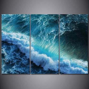 Huge blue wave wall art on canvas ocean picture