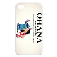 FashionCaseOutlet Ohana Means Family Lilo and Stitch Apple iphone 4/4s Waterproof TPU Back Cases
