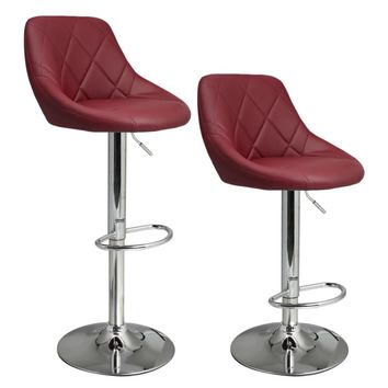 2pcs Synthetic Adjustable Swivel Bar Stool Stainless Steel