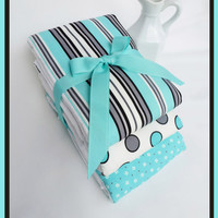 Baby Burp Cloth Set in Classy Teal Blue, Grey and Creamy White