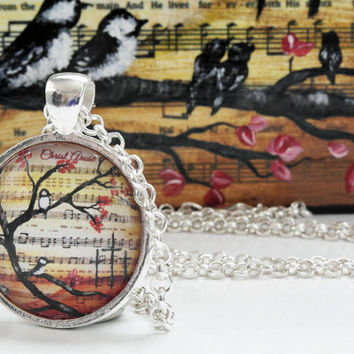 Art Pendant Easter Necklace Easter Gift Christian Easter Jewelry Religious Jewelry Art Glass Pendant Necklace Easter Christian Gift CASTteam