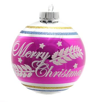 Shiny Brite Vc Signature Flocked Rounds Glass Ornament