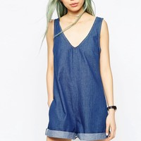 ASOS Denim Romper Playsuit at asos.com