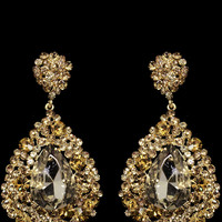 Clustered Teardrop Earrings in Gold – bandbcouture.com