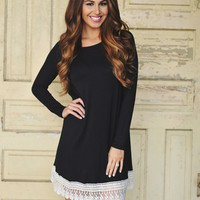 Crochet Hem Dress- Black