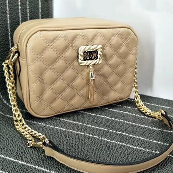 Chanel Women Shopping PU&Metal Strap Bag Twist Mark Tassel Bag Plaid Bag B-OM-NBPF Apricot