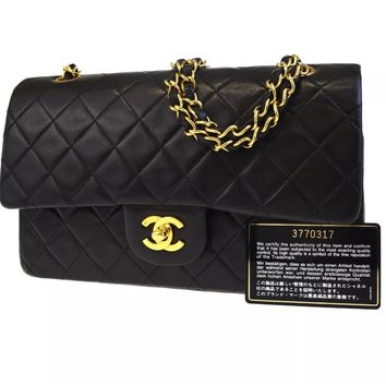 CHANEL BLACK QUILTED 2.55 LAMBSKIN VINTAGE MEDIUM CLASSIC DOUBLE FLAP BAG GHW A4