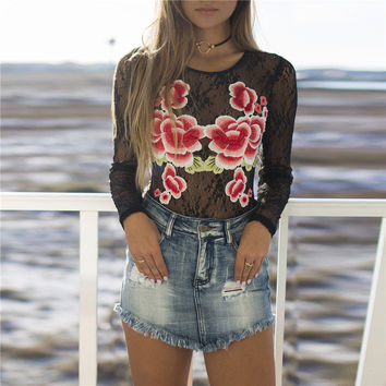 Summer Women's Fashion Hot Sale Floral Embroidery Round-neck Lace Long Sleeve T-shirts [10357219085]
