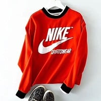NIKE Stylish Women Men Short Sleeve Round Collar Sweatshirt Top Sweater I