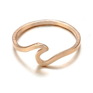 Antique Rose Gold Silver Wave Simple Metal Surfer Midi Ring Knuckle Surf Rings Ocean Wire