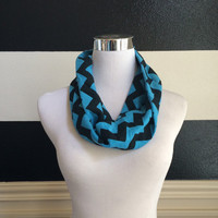 New Jersey Knit Fashion Infinity Chevron Scarf Blue & Black Super Cute