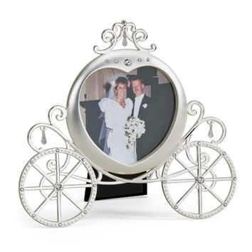 Pewter Finish W/crystals Pumpkin Carriage Photo Frame