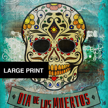 Dia De Los Muertos Mexican Retro Sugar Skull Illustration Art Print Vintage Giclee on Cotton Canvas and Satin Photo Paper