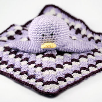 Crochet Duck Lovey Blanket // Purple and White Granny Square Security Blanket // Stuffed Duck Toy