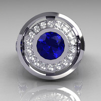 Modern French 14K White 1.0 Carat Round Blue Sapphire Diamond Engagement Ring R131-14WGDBS