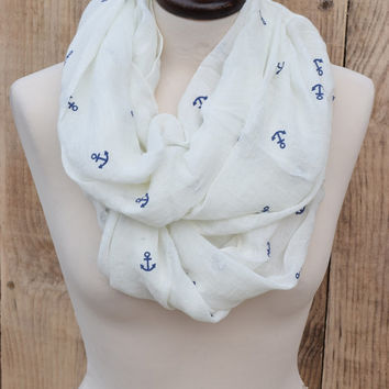 Infinity Scarf White with Blue Anchors Modern Feminine Ladies Fashion Long Women's Scarf Fashion Stole Soft Boho Scarf Gift for Her