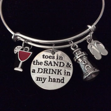 Lighthouse Toes In the Sand Drink in My Hand Expandable Charm Bracelet Adjustable Silver Bangle Gift