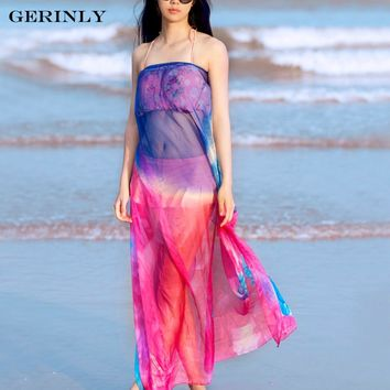 GERINLY Summer Chiffon Scarf Rose Print Pareo Beach Cover Up Sexy Women Hawaiian Sarong Dress Plus Size Bikini Shawl 140cm*200cm