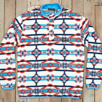 Southern Marsh Harbuck Fleece Quarter Zip Pullover with Aztec Print in White and Navy SM-OHBP-WTNV