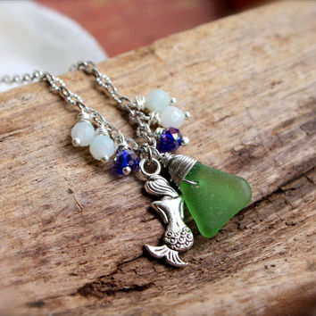 Sea Glass Anklet, Mermaid Jewelry made in Hawaii by Mermaid Tears, Seaglass Jewelry from Hawaii, Mermaid Anklet, Beach Glass Ankle Bracelet