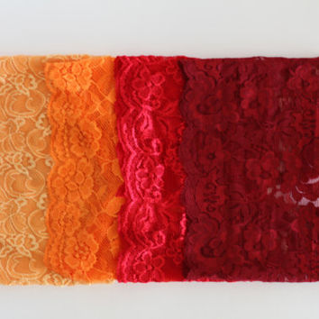 "lace headbands, autumn package, sunshine, orange, red, brick red, thick band adult size 5"" band thick, hairwrap, turband, yoga"