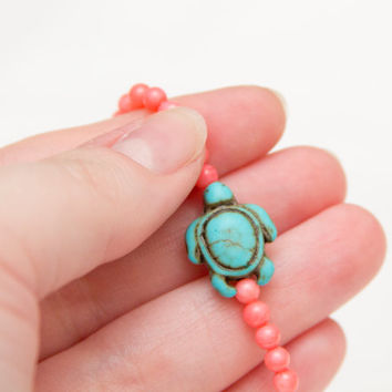 turtle bead stone turquoise pink bamboo beaded stretch bracelet