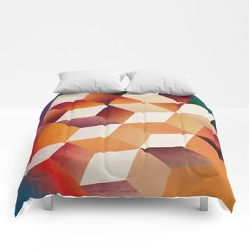 Oil Slick Cubes Comforters by DuckyB