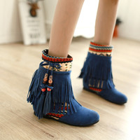 Tassel Beads Increased Patchwork Suede Short Boots