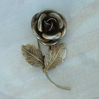 Silver Plated Rose Brooch Vintage Floral Jewelry