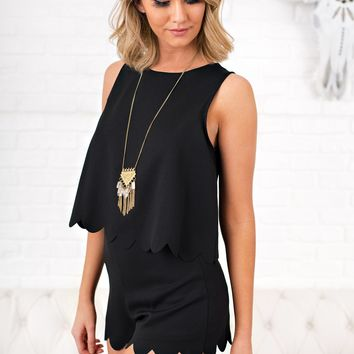 Cheers To You Scalloped Romper (Black)