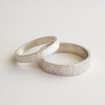 simple wedding rings - handmade hammered sterling silver wedding band set 5mm & 3mm satin finish wedding ring, bark rings -  custom made