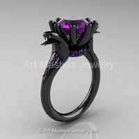 Art Masters Exclusive 14K Black Gold 3.0 Ct Amethyst Cobra Engagement Ring R602-14KBGAM