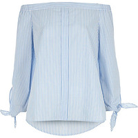 Light blue stripe tie sleeve bardot shirt - bardot / cold shoulder tops - tops - women