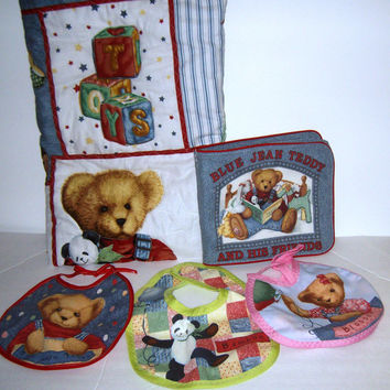 A (5- item) Basket Deal - Made with Blue Jean Teddy - (BJT) Fabrics - You Get: A Crib size Quilt, Soft Cloth Book & 3 Bibs