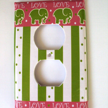Nursey Electrical Outlet Single Switch Art Cover in Love Elephants Pink Lime