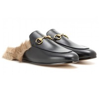 Indie Designs Gucci Inspired Fur-lined Leather Slipper