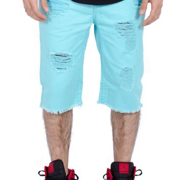 Distressed Twill Raw Shorts in Turquoise