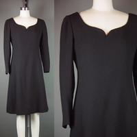 Vintage Late 50s Black Dress 1950s Adele Simpson Wool Crepe Party Cocktail Long Sleeve Sweetheart Neckline S