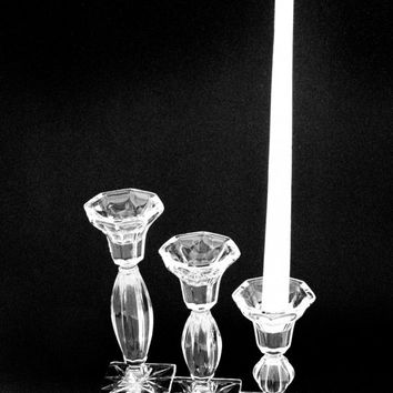 """Candle Holder Crystal Set of Three Tiered 7.5"""", 6.25"""", 5"""" Royal Limited 24% Lead Crystal"""