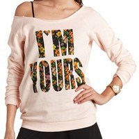 FLORAL GRAPHIC OFF-THE-SHOULDER SWEATSHIRT