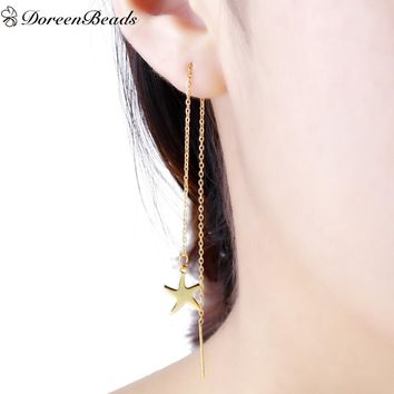 DoreenBeads 304 Stainless Steel Women's Ear Thread Threader Earring gold color Dragonfly Starfish Approx 14.2cm long, 1 Pair