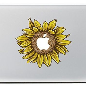 """iCasso Sunflower Removable Vinyl Decal Sticker Skin for Apple Macbook Pro Air Mac 13"""" inch / Unibody 13 Inch Laptop"""