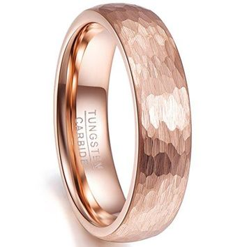 Nuncad 6mm Hammered Tungsten Carbide Ring Brushed Finish Rose Gold Plated Wedding Band for Men Women Size 510