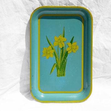 Vintage Serving Tray, Turquoise with Yellow Daffodils; Retro Mid Century Decor, Rustic Country Boho